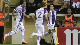 Javi Guerra celebra el gol que adelantaba al Real Valladolid (Marca)