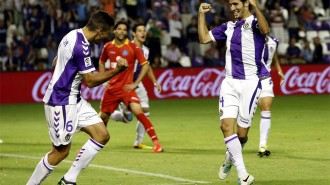 Marc Valiente celebra, junto a Jesús Rueda, su gol ante el Getafe (Marca)