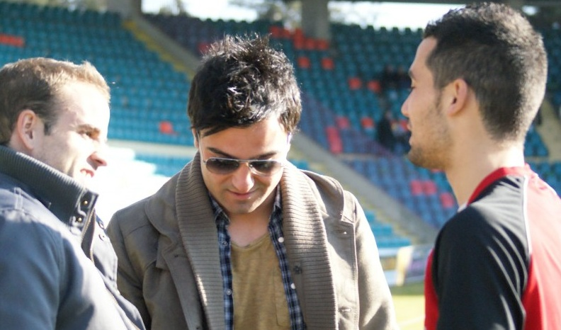 Quique, antes del partido, junto a Pablo Gómez y Sergio García (Salamanca 24horas)