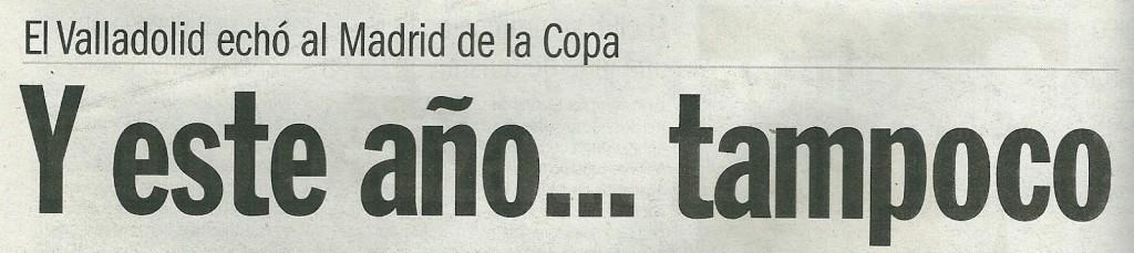 Titular del diario barcelonés Sport tras la clasificación del Real Valladolid