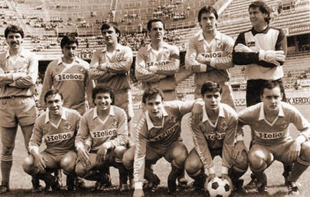 Once titular aquella tarde en Sevilla. [Wirth es el segundo de la fila de arriba empezando por la derecha] (Pasión Violeta)