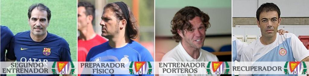 Jaume Torres, Xavier Gil, Jordi Balcells, Diego Tuero y Manel González, el equipo de trabajo de Rubi en el Real Valladolid
