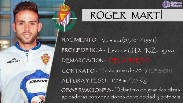 La ficha de Roger Martí, el delantero valenciano que es el segundo fichaje del Real Valladolid 2014/2015