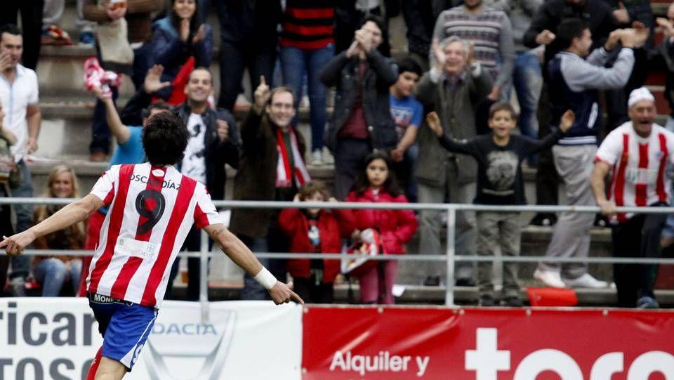 Óscar Díaz celebrando un gol con la camiseta del C.D. Lugo (La Voz de Almería)