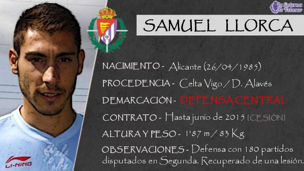 La ficha de Samuel Llorca, el defensa central alicantino que es el segundo fichaje del Real Valladolid 2014/2015