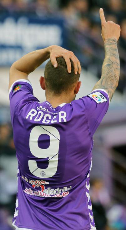 Roger dedicando su tanto al Mirandés (RV.es)
