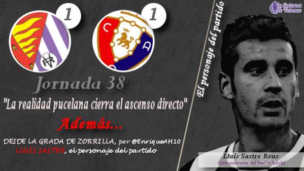 La infografía sobre el empate (1-1) del Real Valladolid ante Osasuna, con LLUÍS SASTRE como protagonista