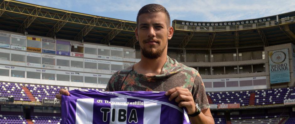 Pedro Tiba en su presentación como nuevo jugador blanquivioleta el pasado día 2 de septiembre (RealValladolid.es)