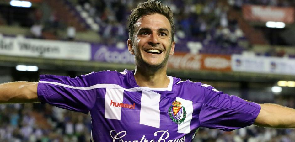Juan Villar celebra el gol anotado al Alcorcón, su primer tanto con la camiseta del Real Valladolid (RV.es)