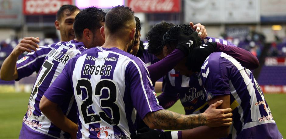 Los jugadores del Real Valladolid celebran el primer gol anotado al Llagostera el pasado domingo (RealValladolid.es)