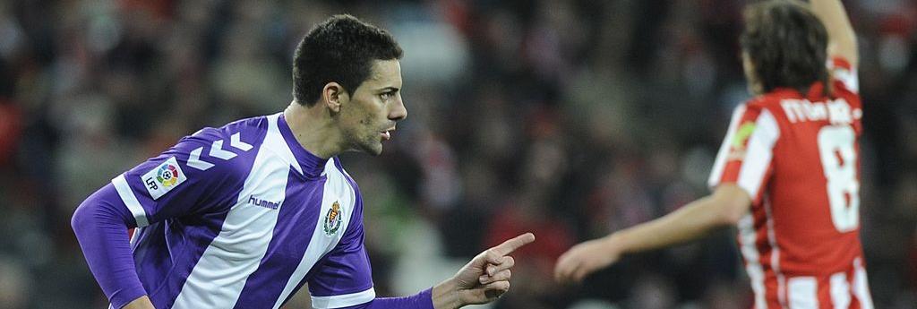 Óscar González celebra su último gol en Primera división con el Real Valladolid (RV.es)