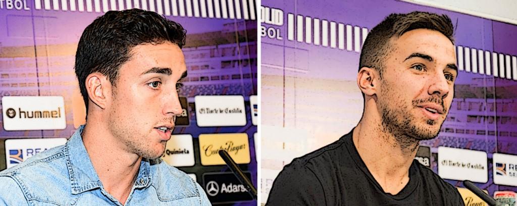 Jaime Mata y Sergio Marcos en dos imáganes en sus respectivas presentaciones con el Real Valladolid (Rv.es)