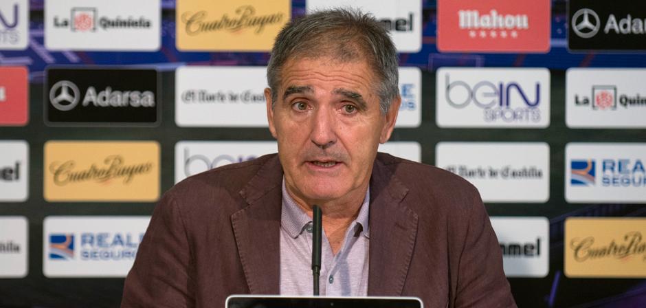 Paco Herrera durante una reciente rueda de prensa en el estadio José Zorrilla <em><strong>(RealValladolid.es)</strong></em>