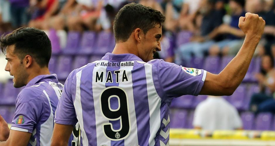 Jaime Mata celebra el que es, hasta la fecha, su único gol con la camiseta blanquivioleta <em><strong>(RealValladolid.es)</strong></em>