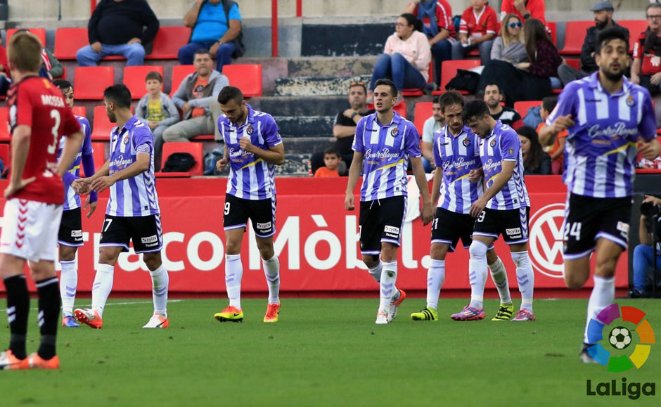 Los jugadores pucelanos celebran el primer gol del partido en Tarragona, el anotado por Juan Villar <em><strong>(LFP)</strong></em>
