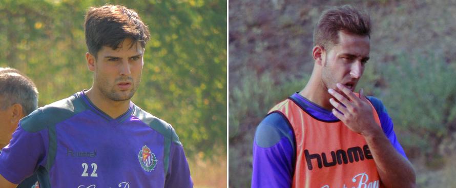 Markel Etxeberria y Ángel García durante diferentes entrenamientos de la pasada pretemporada <em><strong>(RealValladolid.es)</strong></em>