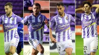 Ángel García, Luciano Balbi, Javi Moyano y markel Exteberria, laterales pucelanos, en diferentes partidos (RealValladolid.es)
