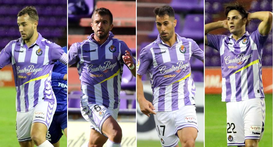 Ángel García, Luciano Balbi, Javi Moyano y Markel Exteberria, laterales pucelanos, en diferentes partidos <em><strong>(RealValladolid.es)</strong></em>