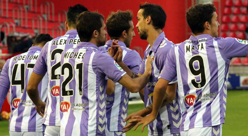 Los jugadores pucelanos celebran el tanto de Raúl de Tomás en Soria el pasado sábado (RealValladolid.es)