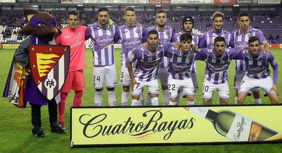 El once titular del Real Valladolid en el reciente duelo copero del José Zorrilla ante la Real Sociedad <em><strong>(RealValladolid.es)</strong></em>