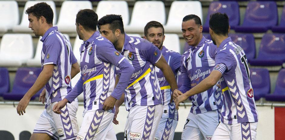 Los jugadores del Real Valladolid celebran el gol de Raúl de Tomás ante el Reus Deportiu <em><strong>(RealValladolid.es)</strong></em>