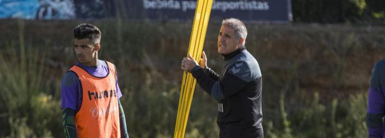 Ibán Salvador y Paco Herrera durante un entrenamiento en los Anexo <em><strong>(ElDíadeValladolid)</strong></em>