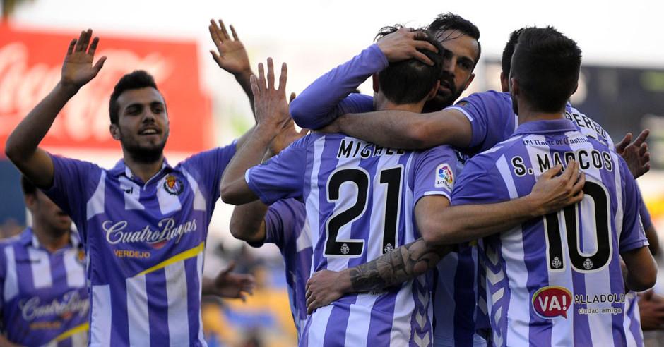 Los jugadores pucelanos celebran el tercer tanto de la victoria ante el UCAM Murcia <em><strong>(LaLiga)</strong></em>