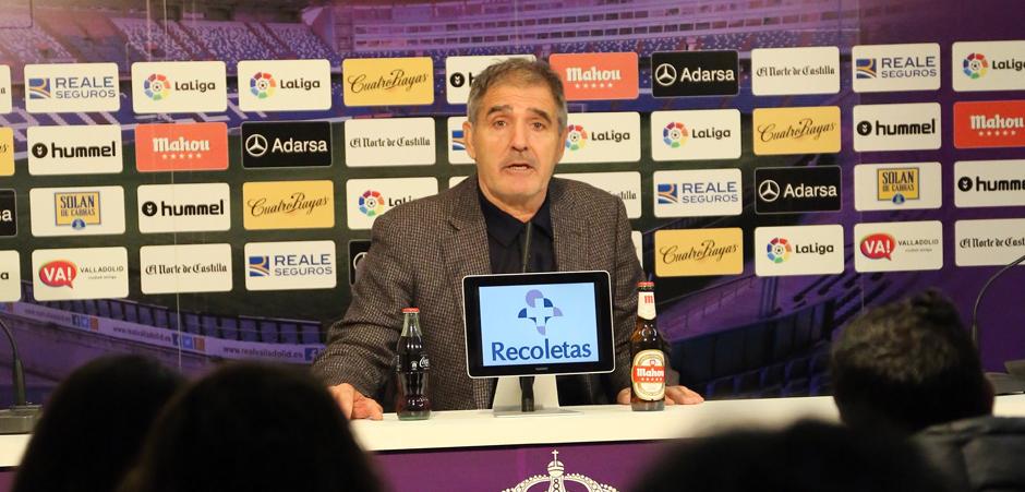 Paco Herrera en la rueda de prensa tras el empate ante el Club Deportivo Lugo <em><strong>(RealValladolid.es)</strong></em>
