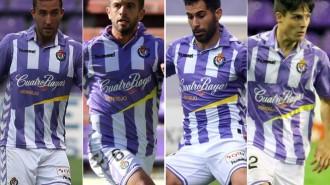 Ángel García, Luciano Balbi, Javi Moyano y Markel Exteberria, los jugadores que se debaten entre carrilero y lateral (RealValladolid.)