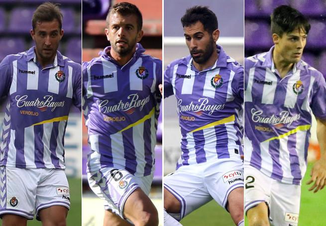 Ángel García, Luciano Balbi, Javi Moyano y Markel Exteberria, el debateentre carrilero y lateral <strong>(RealValladolid.es)</strong>