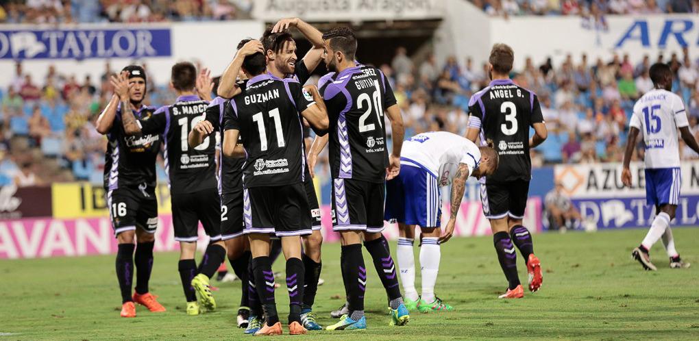 Los jugadores pucelanos celebran el segundo gol blanquivioleta en la visita copera de septiembre <em><strong>(Dani Marzo | ElDesmarque Zaragoza)</strong></em>