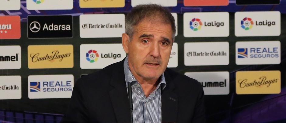Paco Herrera, en una reciente rueda de prensa en el Estadio José Zorrilla <em><strong>(RealValladolid.es)</strong></em>