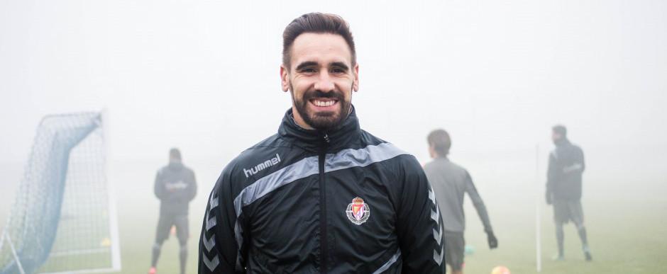 Borja Fernández en su primer entrenamiento con el Real Valladolid en enero de 2016 <em><strong>(RealValladolid.es)</strong></em>