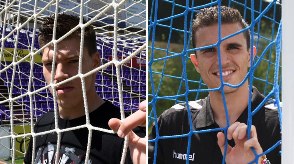 Isaac Becerra y Jordi Masip, en sus respectivas preesentaciones como jugadores pucelanos <em><strong>(RealValladolid.es)</strong></em>