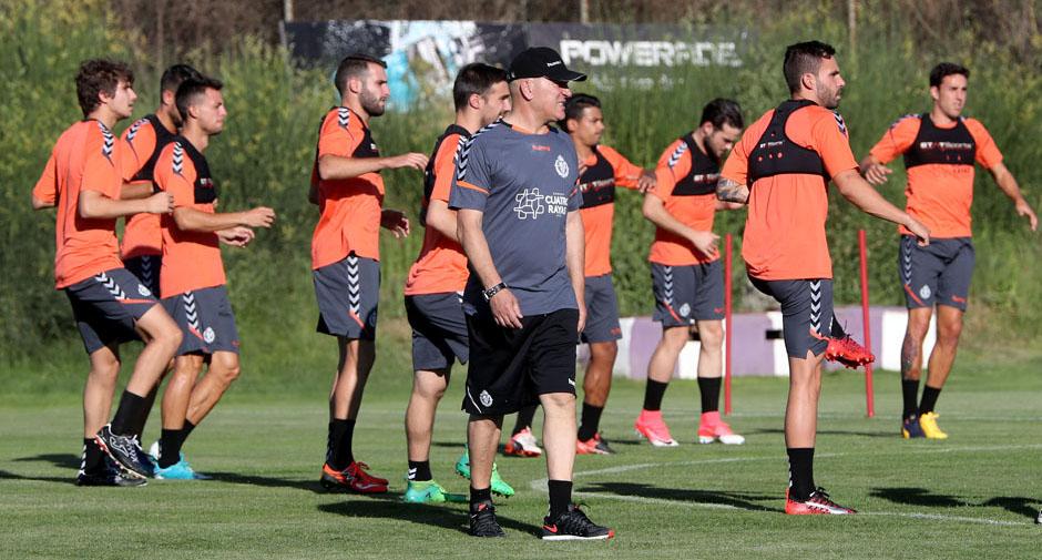 Luis César Sampedro durante la primera sesión de trabajo del Real Valladolid en esta pretemporada (RealValladolid.es)