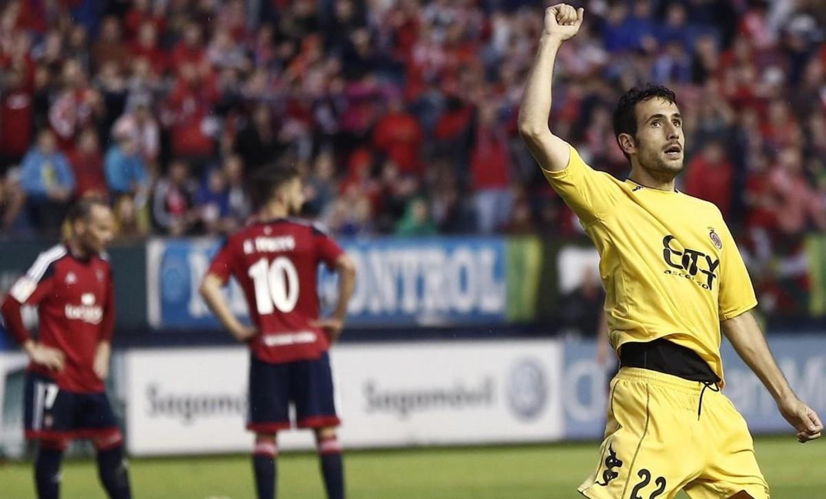 Kiko Olivas celebra el gol anotado a CA Osasuna en el play-off de 2016 <em><strong>(Diario de Navarra)</strong></em>