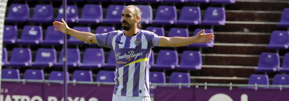 Borja Fernández, durante un duelo de esta temporada en el Estadio José Zorrilla <em><strong>(RealValladolid.es)</strong></em>