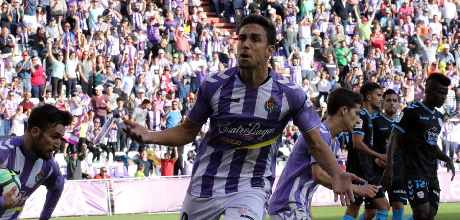 Jaime Mata celebra el tanto del empate del Real Valladolid, su décimo gol de la temporada <em><strong>(RealValladolid.es)</strong></em>