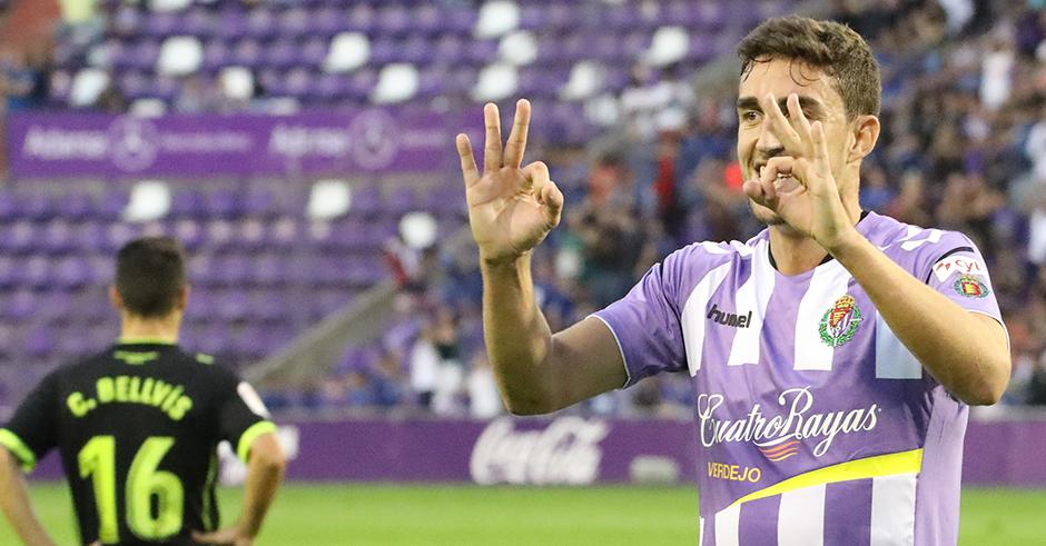 Jaime Mata celebra uno de sus goles en la goleada ante la Agrupación Deportiva Alcorcón <em><strong>(RealValladolid.es)</strong></em>