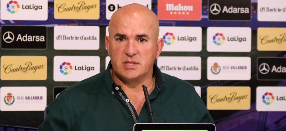 Luis César Sampedro, en la rueda de prensa posterior a la goleada (4-1) sobre el Córdoba CF<em><strong>(RealValladolid.es)</strong></em>