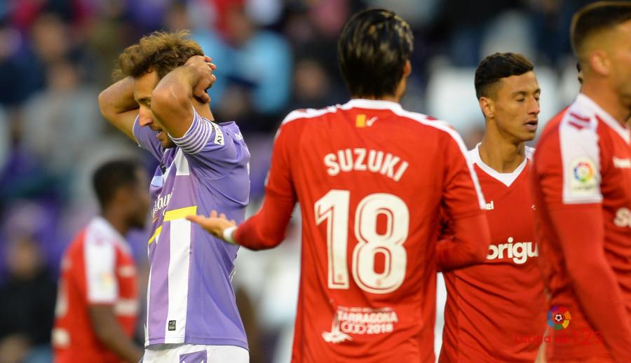 Ángel García se lamenta tras una ocasión fallada en el duelo ante en Nástic de Tarragona <em><strong>(LaLiga)</strong></em>