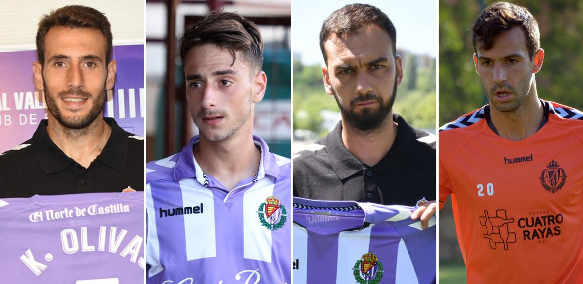 Imagen de los cuatro centrales del Real Valladolid para esta temporada 2017/2018 <em><strong>(RealValladolid.es)</strong></em>