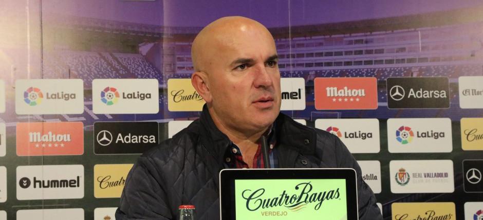 Luis César Sampedro en la rueda de prensa tras el partido ante el Gimnàstic de Tarragona <em><strong>(RealValladolid.es)</strong></em>