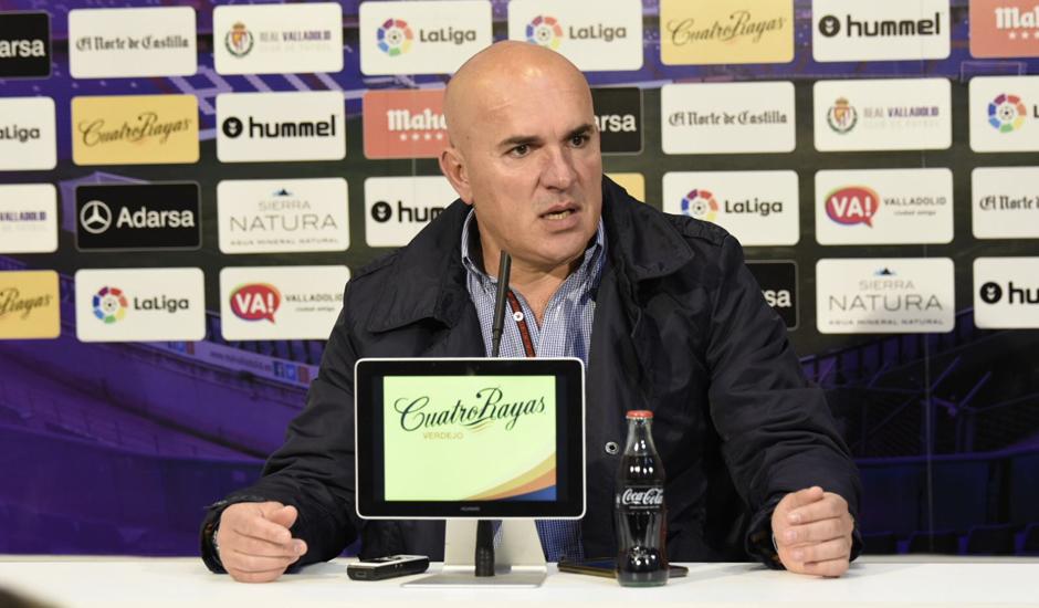 Luis César Sampedro, en la rueda de prensa previa al duelo ante el Club Deportivo Leganés <em><strong>(RealValladolid.es)</strong></em>
