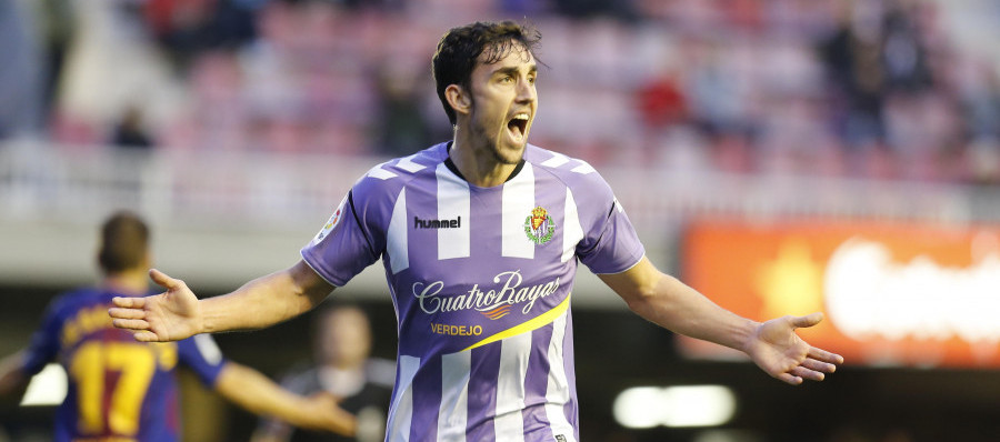 Jaime Mata celebra el gol de la victoria ante el Fútbol Club Barcelona B | <em><strong>Foto: LaLiga</strong></em>