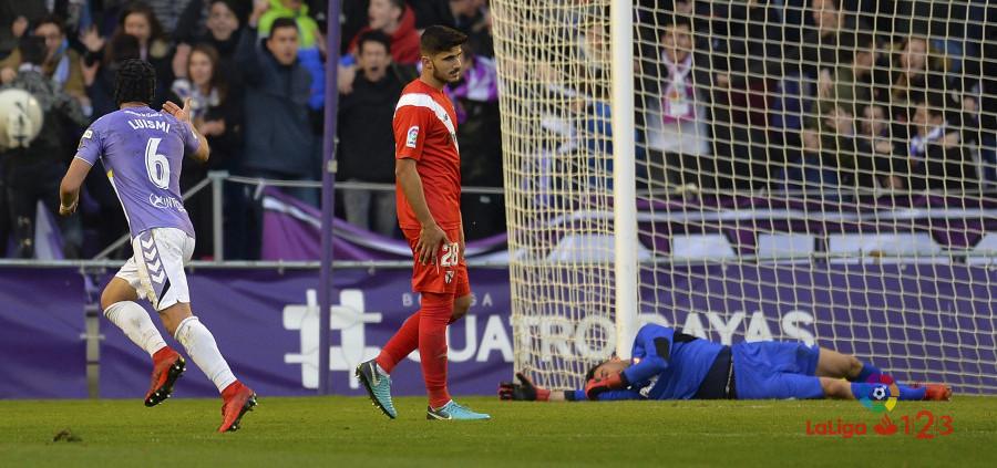 Luismi Sánchez celebra el tanto de la importante victoria ante el Sevilla Atlético | <em><strong>Foto: LaLiga</strong></em>