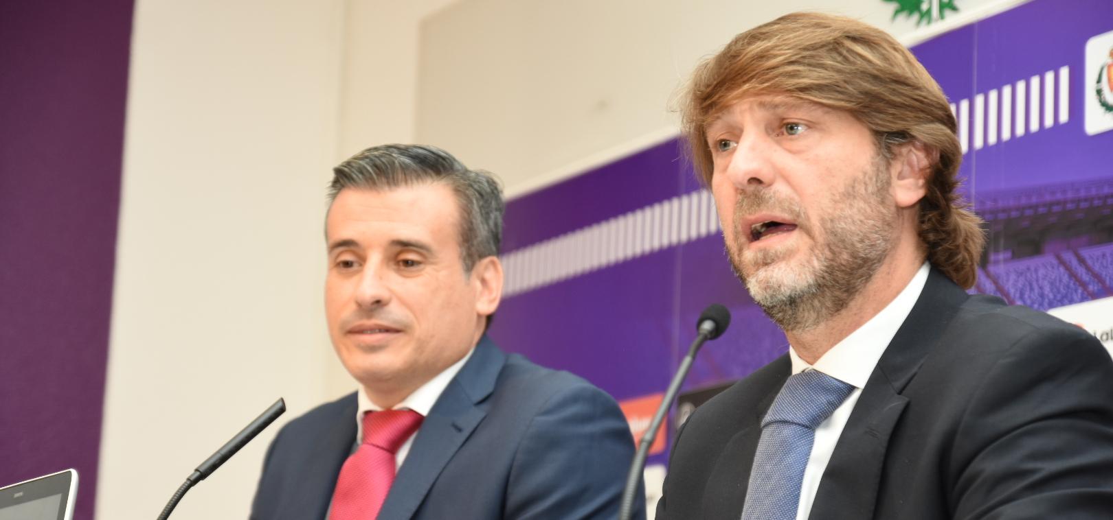 Carlos Suárez y Miguel Ángel Gómez, en la presentación de éste | <em><strong>Foto: Andrés Domingo - ElDesmarque Valladolid</strong></em>