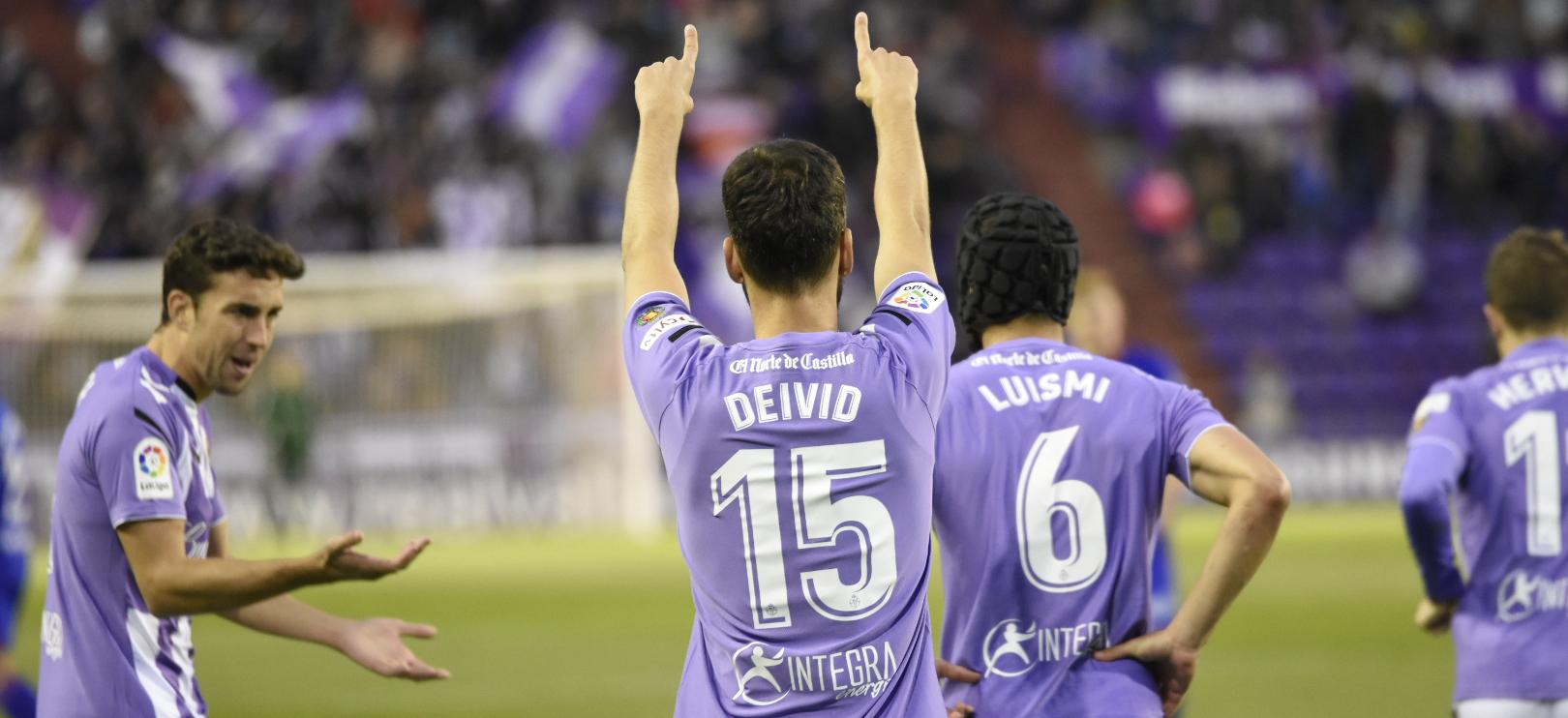 Deivid Rodríguez, tras el tanto anotado al Real Valladolid | <em><strong>Foto: Ándrés Domingo - ElDesmarque Valladolid</strong></em>