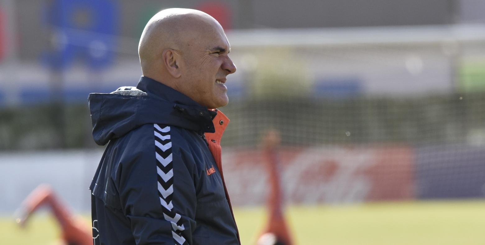 Luis César Sampedro, en una sesión de entrenamiento en los Anexos | <em><strong>Foto: Andrés Domingo - ElDesmarque Valladolid</strong></em>