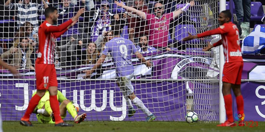 Jaime Mata celebra el tanto de la victoria ante la Unión Deportiva Almería |<em><strong> Foto: LaLiga</strong></em>